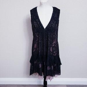 Nanette Lepore V neck Lace Silk Cocktail Dress 4